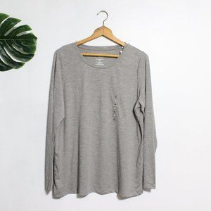 Sonoma Frost Gray Women Long Sleeve T-Shirt XL Top